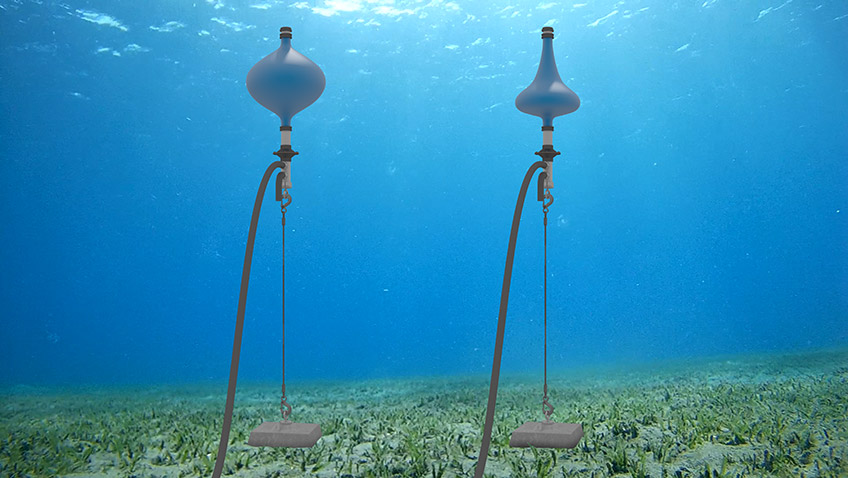 Image of an ocean floor and two pump devices.