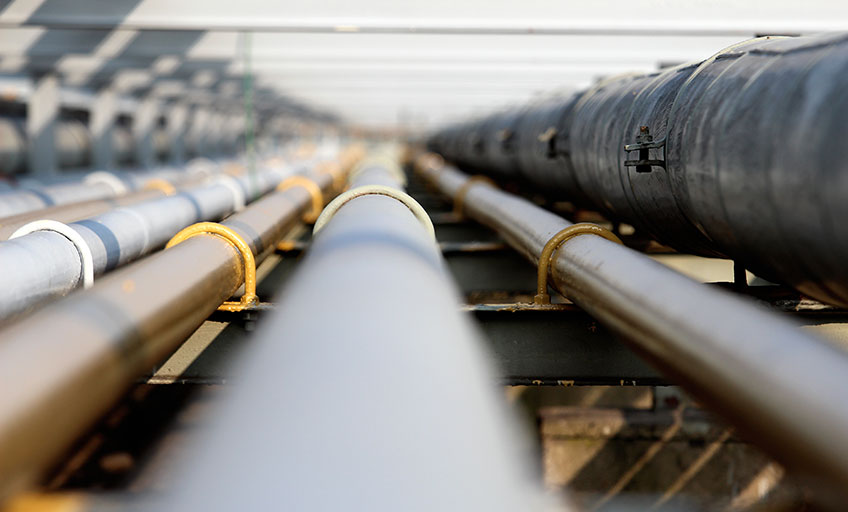 A group of metal gas pipes