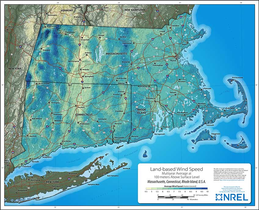 A map that displays multiyear average land-based wind resources available in New England.