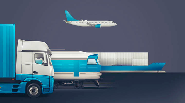 Image showing a truck, train, airplane, and ship.