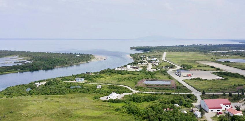 An aerial photo of Kvichak River and Lake Iliamna