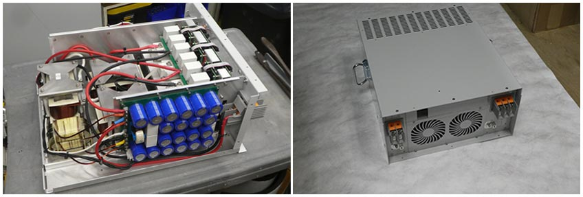 A side-by-side photograph of the inside of a power inverter (left) and the outside of a power inverter (right).