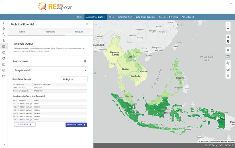 A map of Southeast Asia with overlaid technical potential data displayed on the new RE Data Explorer application.