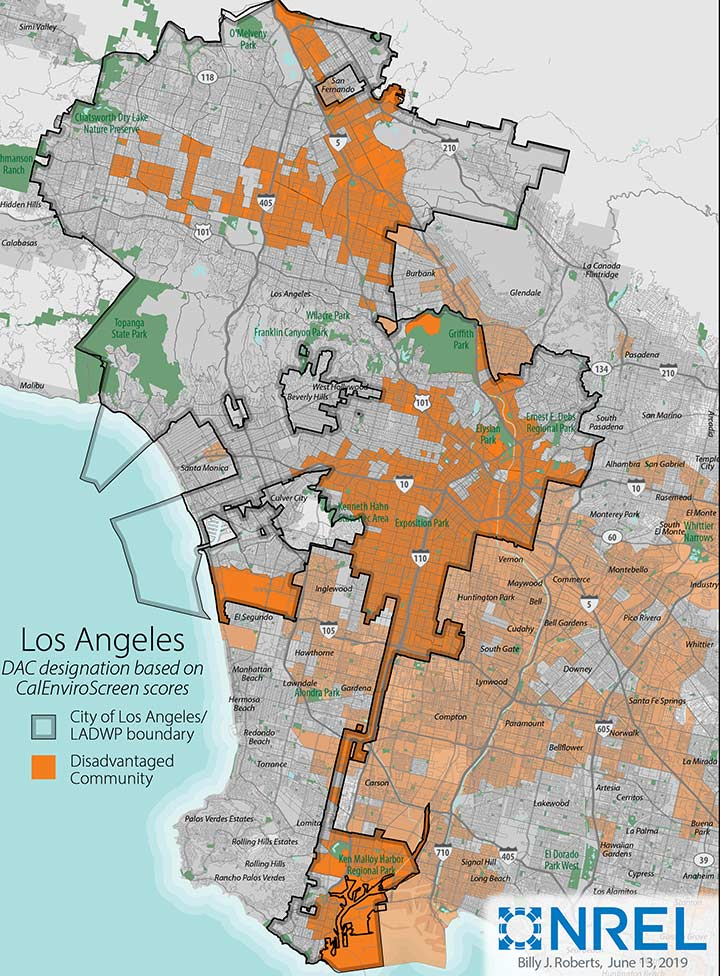 Map of Los Angeles highlighting census tracts designated as disadvantaged communities according to California's CalEnviroScreen scores