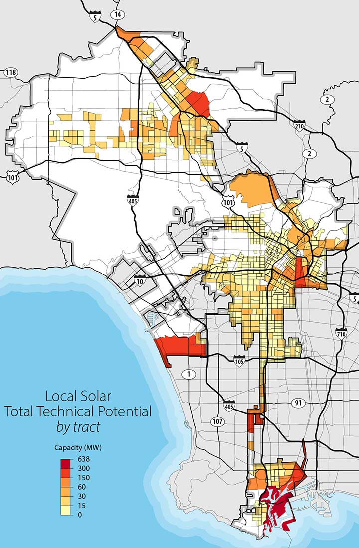 Map of Los Angeles highlighting census tracts designated as disadvantaged communities and projections for local solar technical potential in each tract