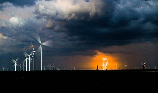 wind turbines in lightning storm