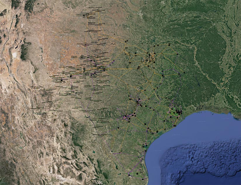 Digital image of a simulation of the Texas power system being used for NREL research.
