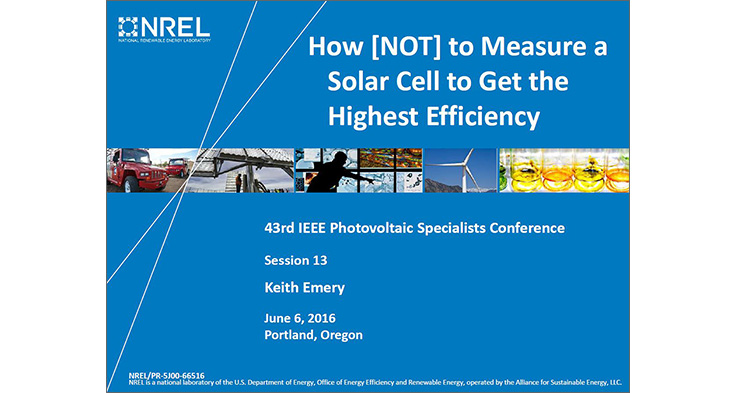 Report cover that reads - How NOT to Measure a Solar Cell to Get the Highest Efficiency.
