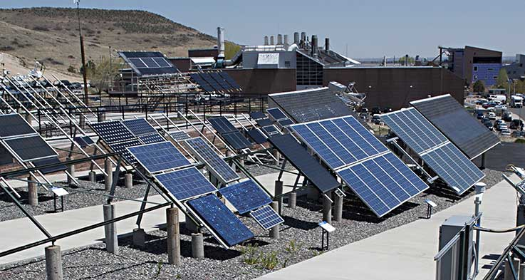 PV panels at NREL's outdoor test facility.