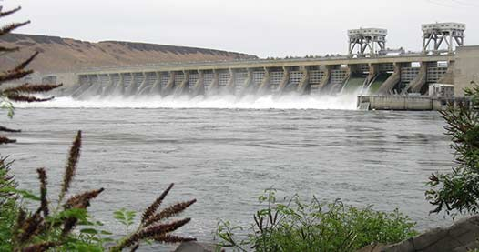 McNary Dam hydroelectric power plant is one of the largest hydroelectric plants in the United States and can generate 980 megawatts of clean energy.
