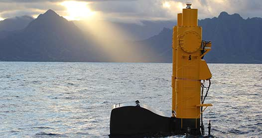 Northwest Energy Innovations' Azura(TM) wave energy device at the United States Navy's Wave Energy Test Site near Kaneohe Bay, Oahu, Hawai'i.