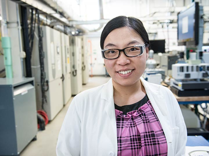 Battery Aging and Control Engineer Ying Shi in NREL's Thermal Test Facility