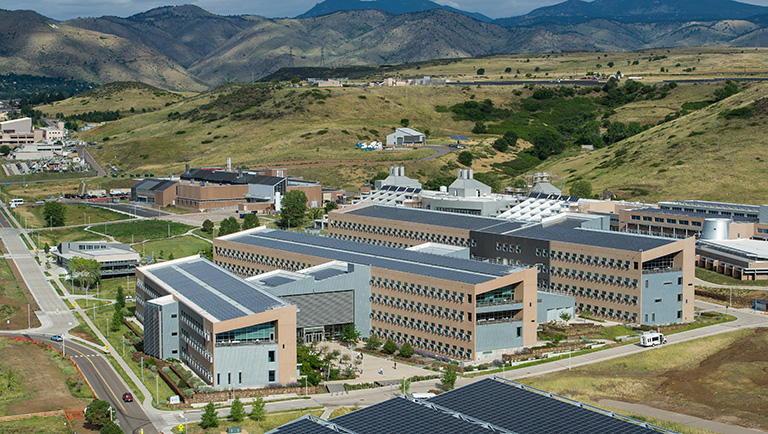 The NREL campus appears in an image, showing the many buildings that make up the campus.