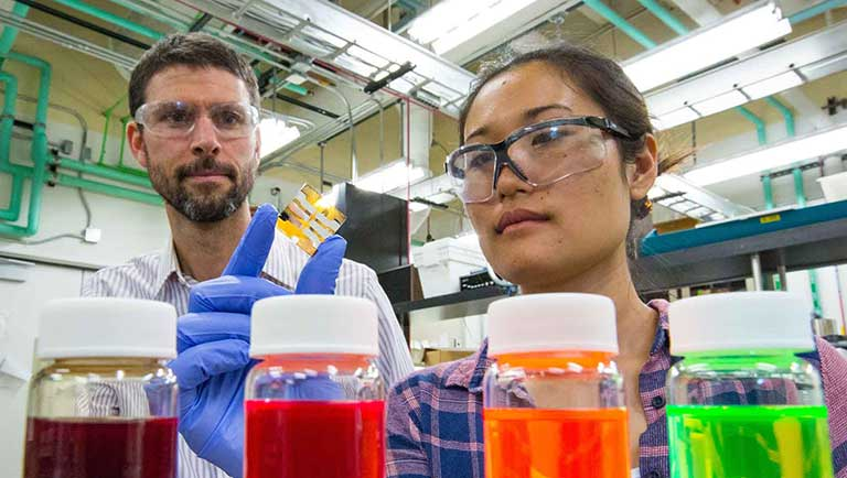 NREL scientists Joey Luther and Erin Sanehira examine a new quantum dot solar cell.
