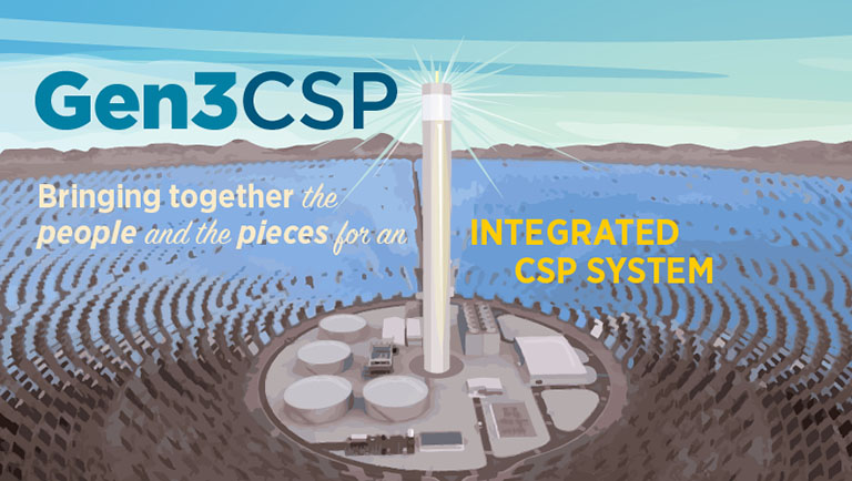 An illustration of a concentrated solar power plant displays the text 'Gen3CSP bringing together the people and the pieces for an integrated CSP system.'