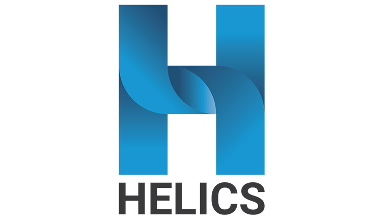 The image shows the logo of NREL's new energy modeling software, consisting of intertwined blue lines forming a large H with the name HELICS below.