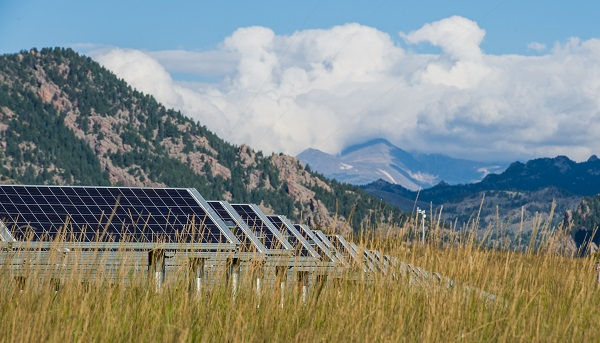 A photo of a large solar array in a field of tall grass with foothills in the background.