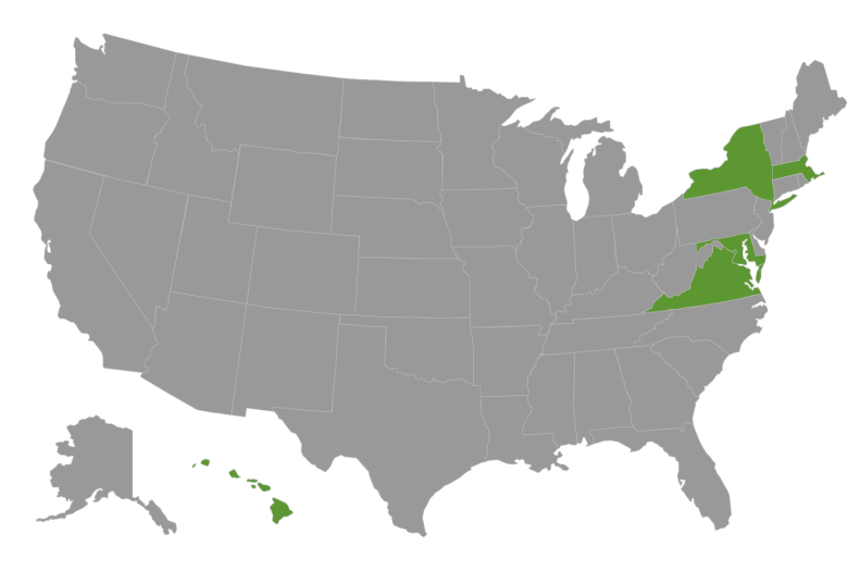 U.S. map with New York, Virginia, Maryland, Massachusetts, and Hawaii highlighted.