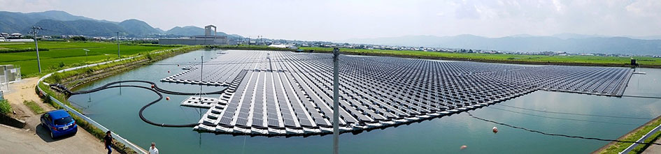 Image of a floating solar array