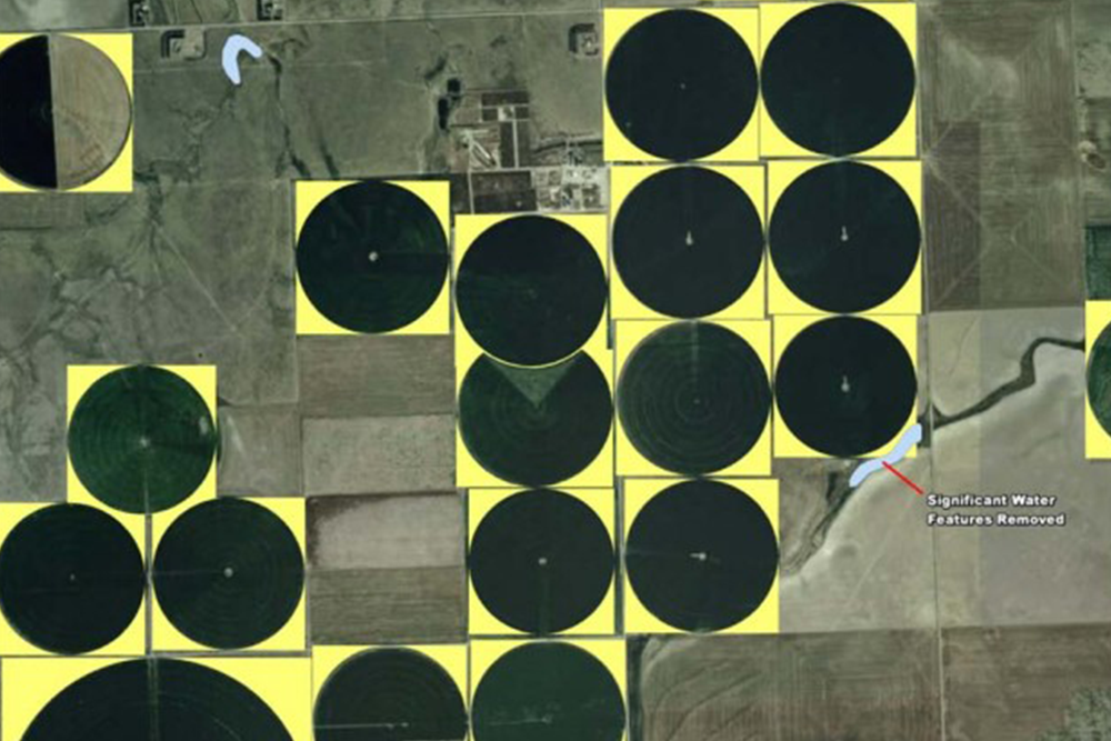When farms use center-pivoted irrigation, the outer corners of square plots of land (shown in yellow) are not used for crop growth and could be utilized for a veggie-centric solar installation