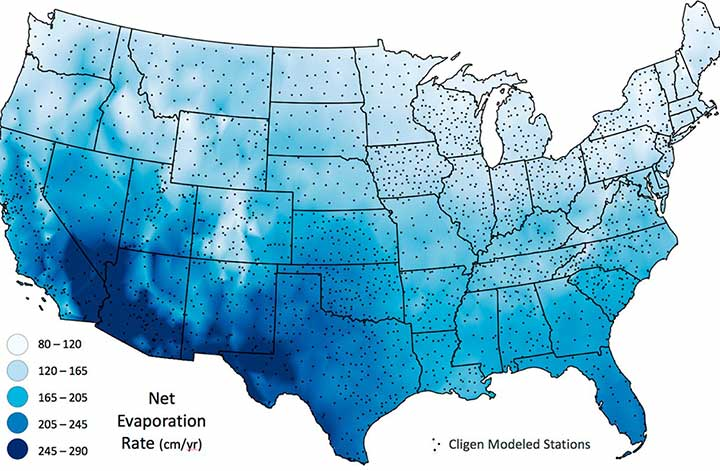 U.S. map showing evaporation rates and potential sites for floating solar photovoltaic panels.