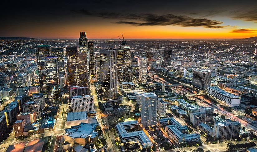 Skyline view of the city of Los Angeles at sunset