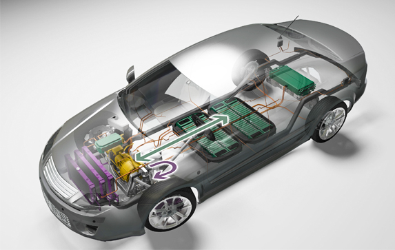 3-D illustration of electric car diagramming energy storage, power electronics, and climate control components, as well as energy flow among components.
