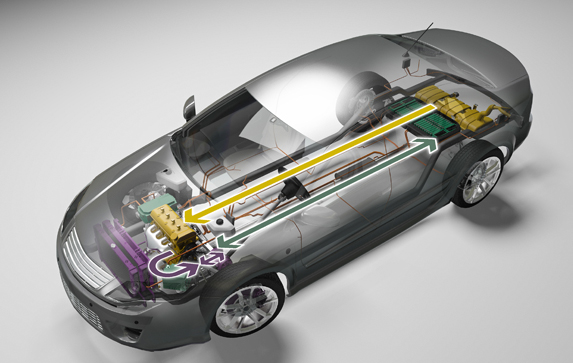 3-D illustration of hybrid electric car diagramming fuel storage, energy storage, power electronics, and climate control components, as well as energy flow among components.