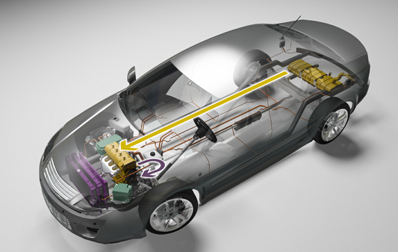 3-D illustration of electric car diagramming fuel storage, energy storage, power electronics, and climate control components, as well as energy flow among components.