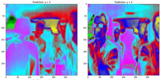 Multicolor images showing heat signature of people sitting in vehicle.