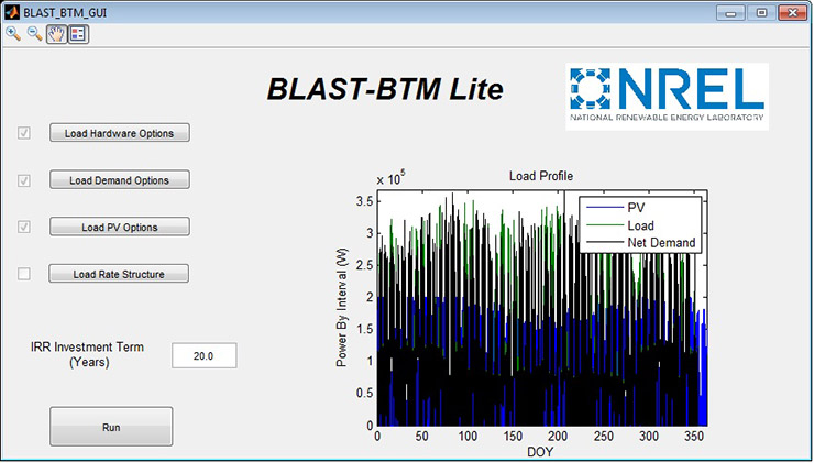A screenshot of the BLAST-BTM Lite graphical user interface showing buttons for hardware, demand, photovoltaic, and rate structure options, an input for internal rate of return investment term, and a plot of selected photovoltaic, load, and net demand data for the year.