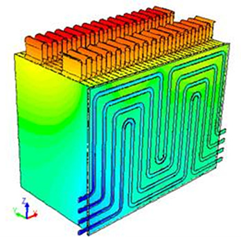 An image of a simulation of a battery pack using CAEBAT software tools.