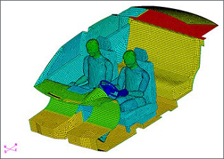 Thermal illustration of two people in a vehicle cabin.