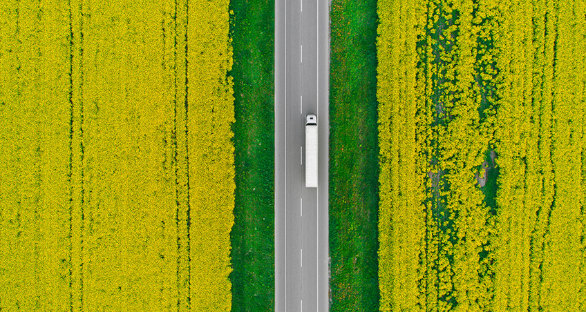 Aerial view of a truck on a highway through a field of rapeseed.