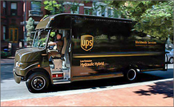 Photo of UPS hydraulic hybrid package-delivery van.