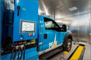Photo of truck parked in a laboratory environment, with cables extending below a monitor installed on the side of the vehicle.
