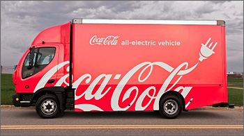 Photo of medium-duty all-electric vehicle operated by Coca-Cola.