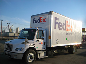 Photo of FedEx Express hybrid delivery truck.