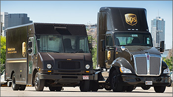 Photo of medium- and heavy-duty United Parcel Service vehicles.