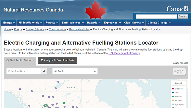 Screen shot of Canada's Electric Charging and Alternative Fueling Stations Locator
