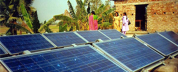 Solar photovoltaic arrays/panels in an east Indian village.