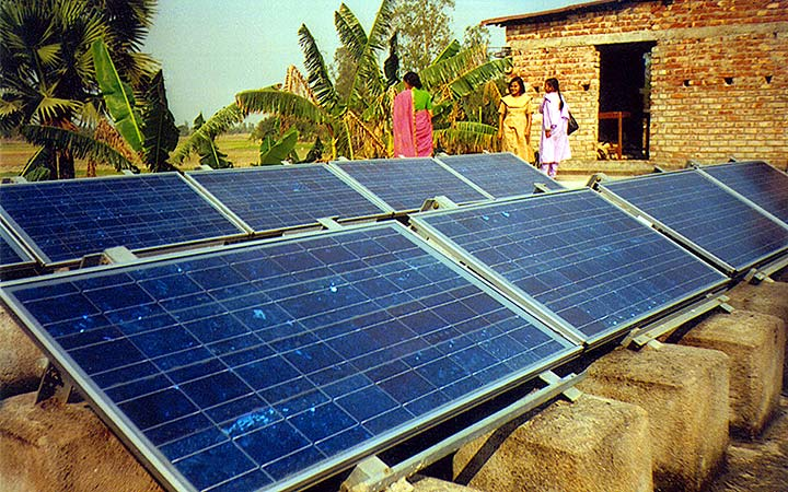 Solar photovoltaic panels/array in an Indian village.