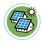 Icon for Distributed PV, showing the sun and two homes and solar panels.