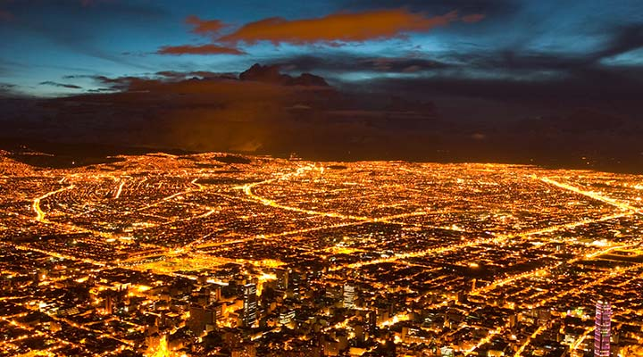 Bogota, Colombia electrified at night