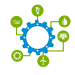 Grid Integration icon, showing a gear in the middle and icons representing different types of energy resources around the outside.