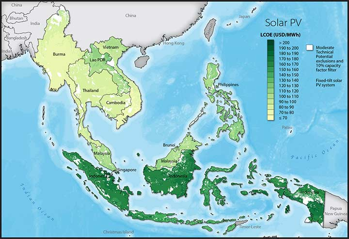 A map showing solar photovoltaic levelized cost of energy across ASEAN member states