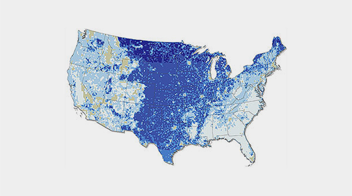 An illustration of the United States colored in shades of blue to represent the potential wind capacity at 110-meters hub height.