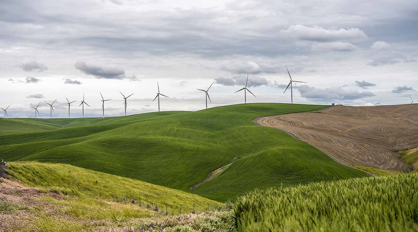 A photo of a row of 11 wind turbines on the ridge of green hills with a brown field in the foreground.