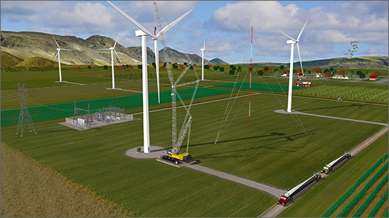 Illustration of a wind farm with a town in the background and a crane lifting the turbine blades onto the last turbine.