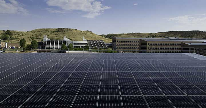 A photo of the solar array on top of the NREL Parking Facility.